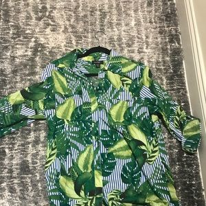 Tops - Linen Palm Tree Print Button Down - never worn